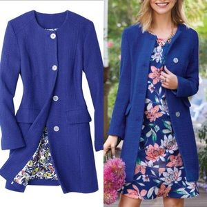 Jackets & Blazers - Blue Textured Tweed-Esk Ladylike Jacket